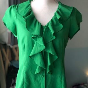 Size Small Green ruffle blouse Banana Republic EUC